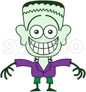 Halloween Frankenstein showing embarrassment Stock Vector