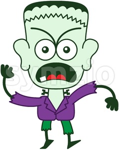 Halloween Frankenstein feeling furious Stock Vector