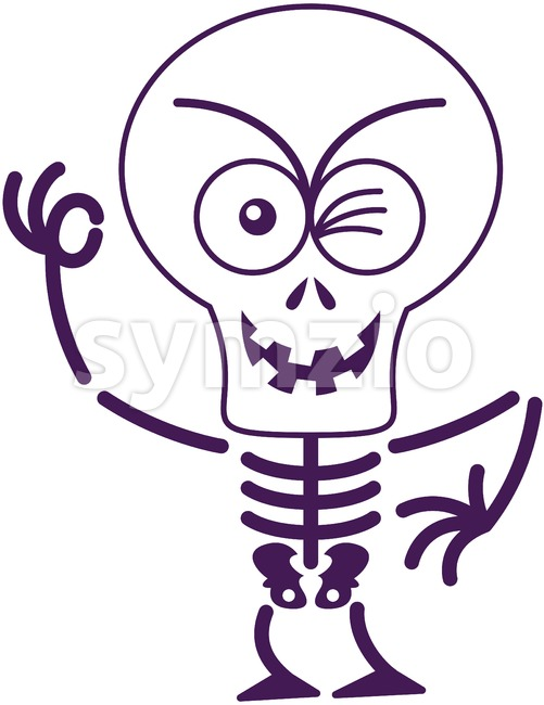 Halloween skeleton winking and making an OK sign Stock Vector