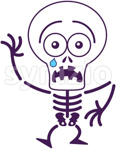 Halloween skeleton feeling scared Stock Vector