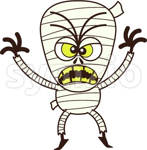 Terrific Halloween mummy being scary Stock Vector