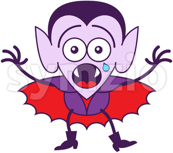 Halloween Dracula feeling scared and crying Stock Vector