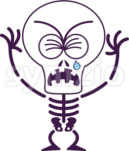 Cute Halloween skeleton crying and sobbing Stock Vector