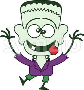Halloween Frankenstein making funny faces Stock Vector