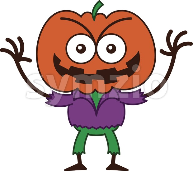 Halloween scarecrow smiling mischievously Stock Vector