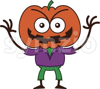 Halloween scarecrow smiling mischievously Stock Vector