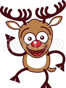 Christmas reindeer waving animatedly Stock Vector