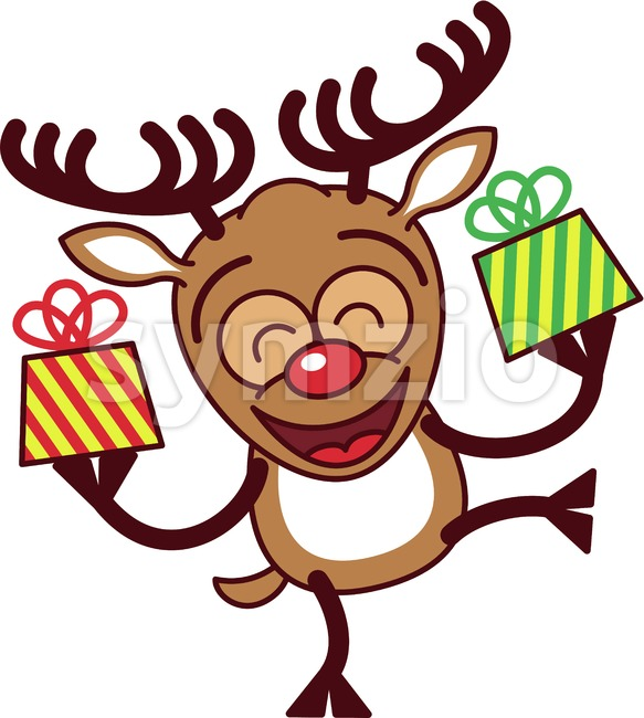 Cool reindeer bringing Christmas gifts Stock Vector
