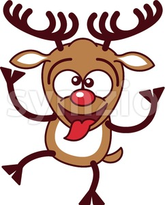 Cool Christmas reindeer making funny faces Stock Vector