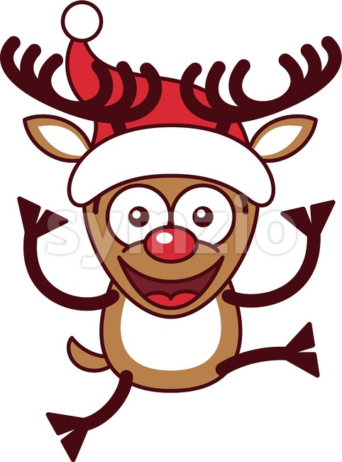 Xmas reindeer wearing a Santa hat and jumping Stock Vector