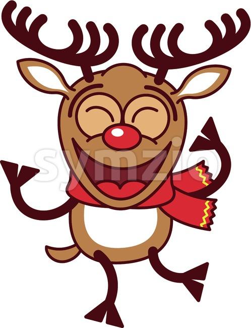 Cool Christmas reindeer dancing animatedly Stock Vector