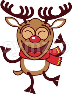 Cool Christmas reindeer dancing animatedly Stock Vector