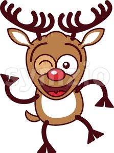 Cool Christmas reindeer smiling and winking Stock Vector