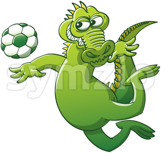 Brave alligator executing a soccer heading Stock Vector
