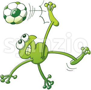 Talented green frog executing a stunning bicycle kick Stock Vector