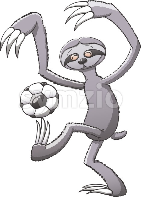 Sloth playing soccer and having fun while keeping balance Stock Vector
