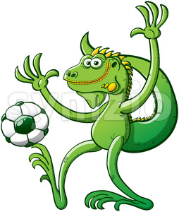 Cool green iguana playing soccer and posing Stock Vector
