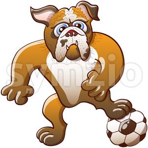 Strong bulldog playing soccer by preparing a free kick Stock Vector