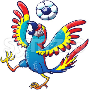 Macaw playing soccer by bouncing a ball on its head Stock Vector