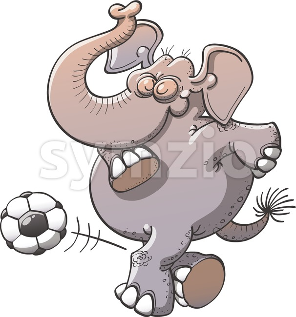 Cool soccer elephant executing a rabona Stock Vector