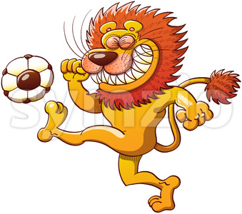 Brave lion kicking a soccer ball Stock Vector
