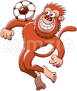 Cool monkey trapping soccer ball with the chest Stock Vector