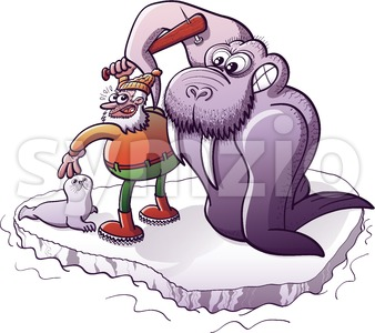 Walrus defending a baby seal from a hunter Stock Vector