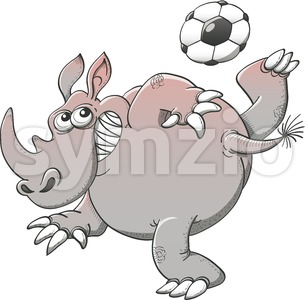 Rhinoceros playing soccer with great style Stock Vector