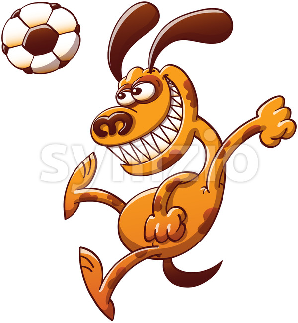 Brave dog heading a soccer ball Stock Vector