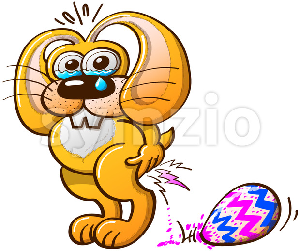 Painful Easter job for a cute yellow bunny Stock Vector