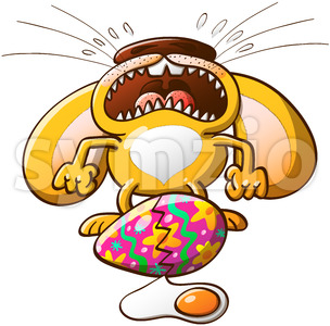 Easter bunny crying about its broken egg Stock Vector