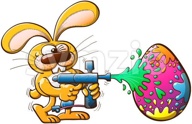 Easter bunny shooting colors to an egg Stock Vector