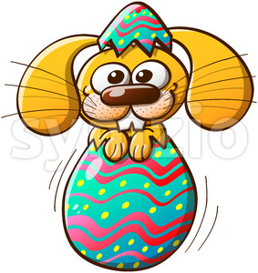 Cute Easter bunny being born from an egg Stock Vector
