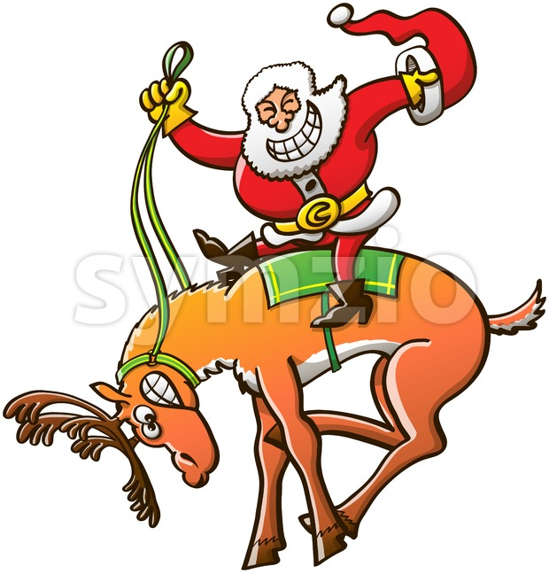 Christmas rodeo and reindeer taming by Santa Claus Stock Vector