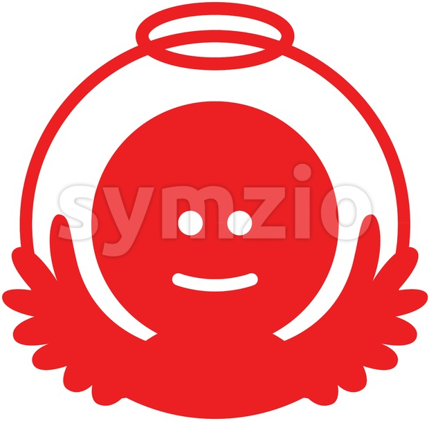 Smiling Christmas angel pictogram Stock Vector