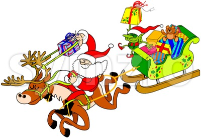 Smart Santa Claus shooting gifts with a slingshot Stock Vector
