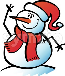 Christmas snowman waving hello joyfully Stock Vector