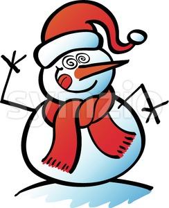 Crazy Christmas snowman making a goofy face Stock Vector