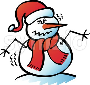 Worried Christmas snowman shivering Stock Vector