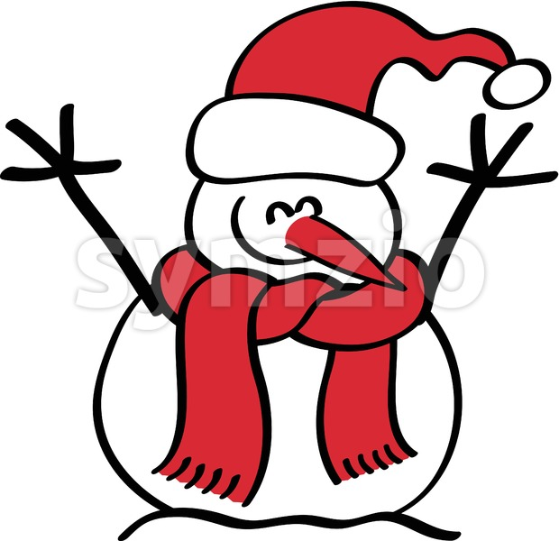 Christmas snowman smiling enthusiastically Stock Vector