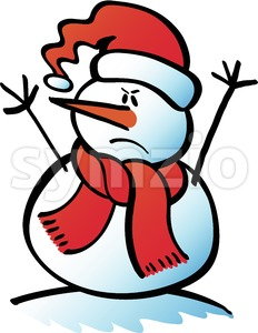 Angry Christmas snowman Stock Vector