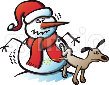 Bad Dog Peeing on Christmas Snowman Stock Vector