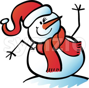 Christmas snowman waving hello happily Stock Vector