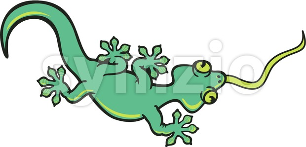 Green gecko walking and sticking his tongue out Stock Vector