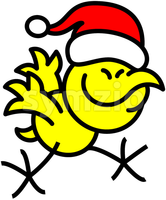 Cool yellow chicken celebrating Christmas Stock Vector