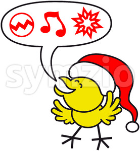 Nice yellow chicken making Christmas wishes Stock Vector