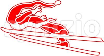 Santa Claus loves extreme ski jumping Stock Vector