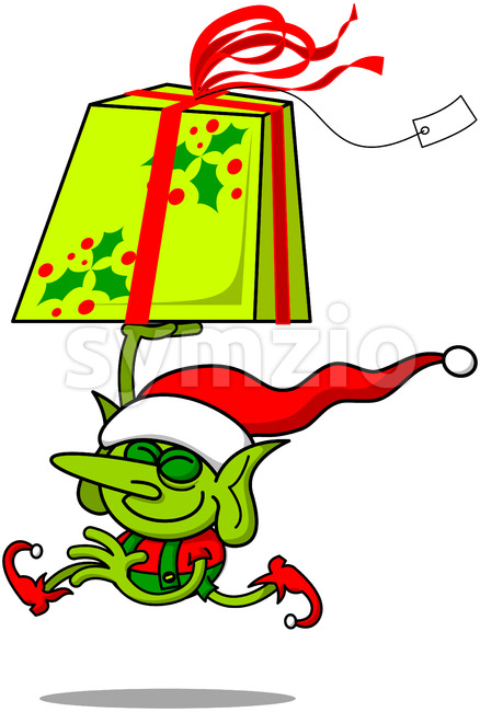 Cute Christmas elf running with a huge gift Stock Vector