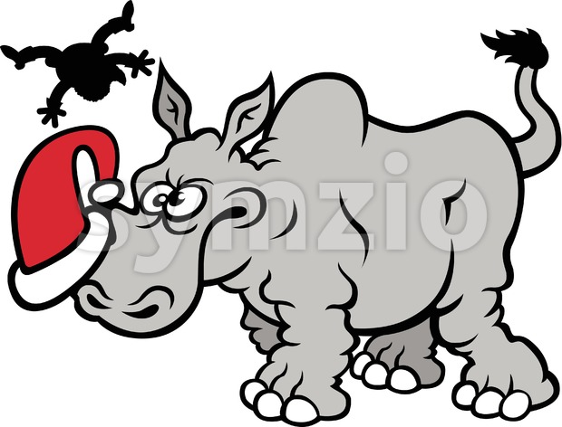 Furious wild rhinoceros charging Santa Claus Stock Vector