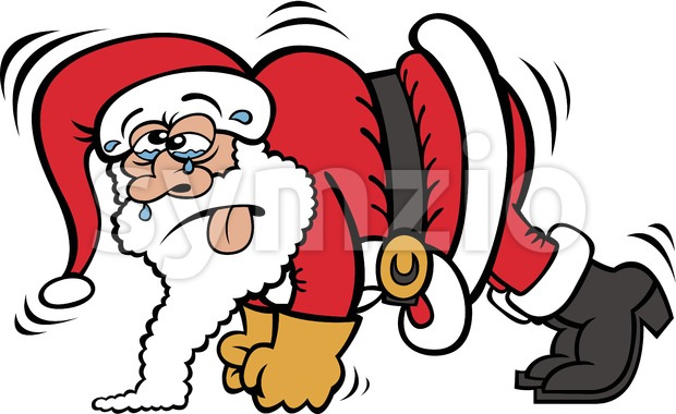 Santa Claus training by doing push-ups Stock Vector